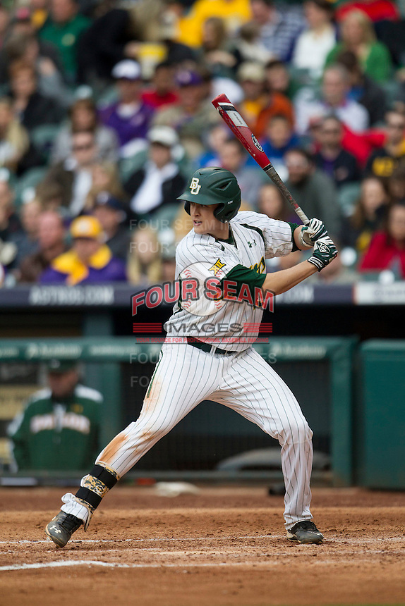 Baylor Bears first baseman Aaron Dodson (19) at bat during the NCAA baseball game against the LSU Tigers on March 7, 2015 in the Houston College Classic at Minute Maid Park in Houston, Texas. LSU defeated Baylor 2-0. (Andrew Woolley/Four Seam Images)
