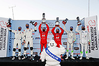 #61 Road Shagger Racing Audi RS3 LMS TCR, TCR: Gavin Ernstone, Jon Morley, #33 Bryan Herta Autosport w/ Curb Agajanian Hyundai Veloster N TCR, TCR: Gabby Chaves, Ryan Norman, #29 Bryan Herta Autosport w/ Curb Agajanian Hyundai Veloster N TCR, TCR: Parker Chase, Spencer Brockman, podium