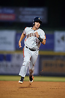 Aberdeen IronBirds catcher Alfredo Gonzalez (19) runs the bases during a game against the Tri-City ValleyCats on August 27, 2018 at Joseph L. Bruno Stadium in Troy, New York.  Aberdeen defeated Tri-City 11-5.  (Mike Janes/Four Seam Images)