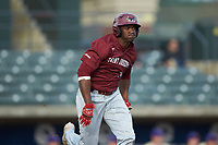Tim Johnson (32) of the Saint Joseph's Hawks hustles down the first base line against the Western Carolina Catamounts at TicketReturn.com Field at Pelicans Ballpark on February 23, 2020 in Myrtle Beach, South Carolina. The Hawks defeated the Catamounts 9-2. (Brian Westerholt/Four Seam Images)
