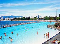 Kitsilano Outdoor Swimming Pool, Vancouver, BC, British Columbia, Canada - English Bay and Coast Mountains beyond