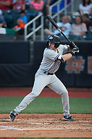 Oliver Dunn (13) of the Hudson Valley Renegades at bat against the Aberdeen IronBirds at Leidos Field at Ripken Stadium on July 23, 2021, in Aberdeen, MD. (Brian Westerholt/Four Seam Images)