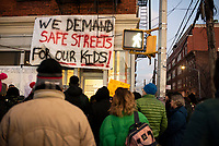 NEW YORK, NY - DECEMBER 11: People take part during a protest on  December 11,2019 in the Bronx New York City. Residents demand safe streets in response to the escalating violence between gangs, wounded five people, including a 10 and 14-year-old on this area nearly 4,000 students  attend school, daycare, and after-school programs in the 3-block radius of where this violence occurred.<br /> (Photo by Joana Toro/VIEWPress/Corbis via Getty Images)