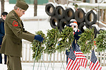 WINSTED, CT-121617JS10---Davie McGee, Chaplin for both American Legion Post 159 and VFW Post 296, places the wreath representing POW's  during the Wreaths Across America ceremony Saturday at Forest View Cemetery in Winsted. The event was hosted by the Brooks-Green Woods Chapter of the National Society Daughters of the American Revolution.  <br /> Jim Shannon Republican-American