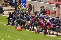 SANDY, UT - OCTOBER 03: Utah Royals FC bench during a game between Portland Thorns FC and Utah Royals FC at Rio Tinto Stadium on October 03, 2020 in Sandy, Utah.
