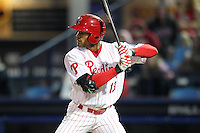 Reading Phillies outfielder Tyson Gillies #13 during a game against the New Hampshire Fisher Cats at FirstEnergy Stadium on April 10, 2012 in Reading, Pennsylvania.  New Hampshire defeated Reading 3-2.  (Mike Janes/Four Seam Images)
