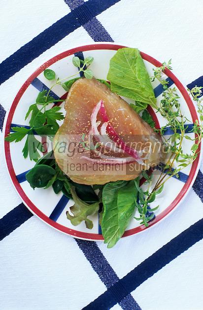 """Europe/France/Aquitaine/64/Pyrénées-Atlantiques/Saint-Jean-de-Luz: Pavé de thon fumé et sa petite salade - Recette du restaurant """"Le Patio"""""""