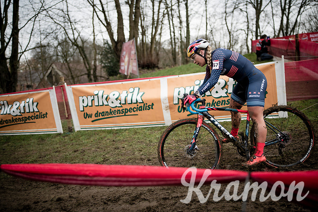 Evie Richards (GBR/Trek Factory Racing)<br /> <br /> 2021 UCI CX World Cup Overijse (BEL)<br /> Vlaamse Druivencross<br /> <br /> Women's Race<br /> <br /> ©kramon
