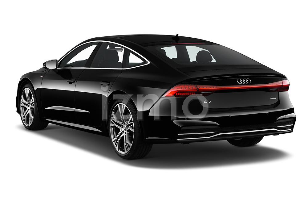 Rear three quarter view of a 2019 Audi A7 Prestige 5 Door Hatchback angular rear
