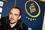 John Degenkolb (GER) Trek-Segafredo at the top riders press conference for the Dubai Tour 2018 the Dubai Tour's 5th edition held at Dubai Frame in Zabeel Park, Dubai, United Arab Emirates. 5th February 2018.<br /> Picture: LaPresse/Massimo Paolone | Cyclefile<br /> <br /> <br /> All photos usage must carry mandatory copyright credit (© Cyclefile | LaPresse/Massimo Paolone)