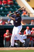 Detroit Tigers left fielder Justin Upton (8) at bat during an exhibition game against the Florida Southern Moccasins on February 29, 2016 at Joker Marchant Stadium in Lakeland, Florida.  Detroit defeated Florida Southern 7-2.  (Mike Janes/Four Seam Images)