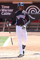 Wisconsin Timber Rattlers outfielder Monte Harrison (3) at bat during a game against the Peoria Chiefs on April 25th, 2015 at Fox Cities Stadium in Appleton, Wisconsin.  Wisconsin defeated Peoria 2-0.  (Brad Krause/Four Seam Images)