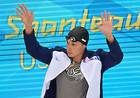 July 28, 2012: Eric Shanteau of the United States arrives to compete in Men's 100 meter Butterfly semifinal event at the Aquatics Center on day one of 2012 Olympic Games in London, United Kingdom.