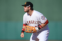 Mesa Solar Sox first baseman C.J. Cron (25), of the Los Angeles Angels of Anaheim organization, during an Arizona Fall League game against the Scottsdale Scorpions on October 15, 2013 at HoHoKam Park in Mesa, Arizona.  Mesa defeated Scottsdale 7-4.  (Mike Janes/Four Seam Images)