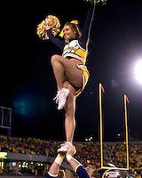 October 23, 2008: West Virginia cheerleader. The West Virginia Mountaineers defeated the Auburn Tigers 34-17 on October 23, 2008 at Mountaineer Field, Morgantown, West Virginia.
