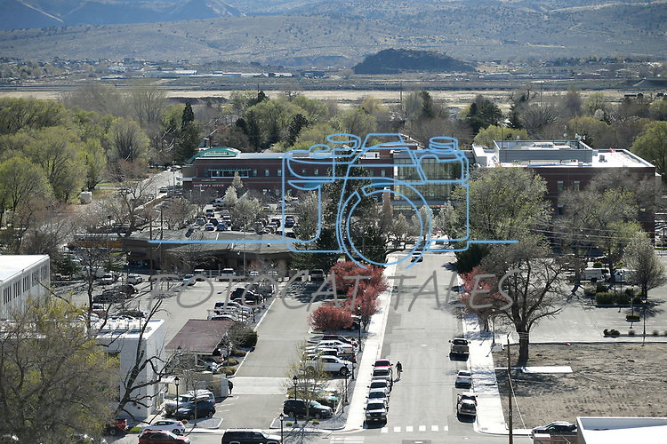 The view of the Carson City Sheriff's Office and Courthouse, seen from the Capitol dome in Carson City, Nev., on Tuesday, April 17, 2018. <br /> Photo by Cathleen Allison/Nevada Momentum