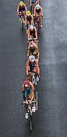 07 JUL 2012 - PARIS, FRA -  Melanie Annaheim (TCC 36) (bottom of picture in cyan) leads a pack during the bike at the elite women's French Grand Prix round during the 2012 Triathlon de Paris which was held around the Pont d'Lena, Paris, France .(PHOTO (C) 2012 NIGEL FARROW)