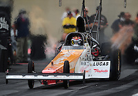 Sept. 30, 2011; Mohnton, PA, USA: NHRA top fuel dragster driver Clay Millican during qualifying for the Auto Plus Nationals at Maple Grove Raceway. Mandatory Credit: Mark J. Rebilas-