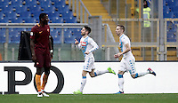 Napoli's Dries Mertens, center, celebrates after scoring his second goal during the Italian Serie A football match between Roma and Napoli at Rome's Olympic stadium, 4 March 2017. <br /> UPDATE IMAGES PRESS/Isabella Bonotto