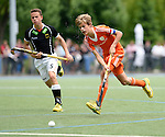 GER - Mannheim, Germany, May 25: During the U16 Boys match between The Netherlands (orange) and Germany (black) during the international witsun tournament on May 25, 2015 at Mannheimer HC in Mannheim, Germany. Final score 3-4 (1-2). (Photo by Dirk Markgraf / www.265-images.com) *** Local caption *** Justen Blok #7 of The Netherlands