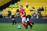 Derek Payne & Jake Wood during the Sellebrity Soccer - Celebrity & legends football match with profits going to Watford Community sports & education trust at Vicarage Road, Watford, England on 12 May 2018. Photo by Andy Rowland.