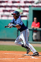 Atlanta Braves infielder Johan Camargo #12 during a minor league Spring Training game against the Philadelphia Phillies at Al Lang Field on March 14, 2013 in St. Petersburg, Florida.  (Mike Janes/Four Seam Images)