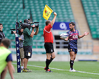 Lucas Alcacer of Buenos Aires prepares to throw the ball in during the World Club 7s at Twickenham on Sunday 18th August 2013 (Photo by Rob Munro)