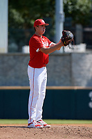 Pitcher Mitch Bratt (6) during the Baseball Factory All-Star Classic at Dr. Pepper Ballpark on October 4, 2020 in Frisco, Texas.  Pitcher Mitch Bratt (6), a resident of Newmarket, Ontario, Canada, attends Newmarket High School.  (Mike Augustin/Four Seam Images)