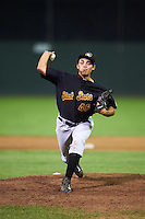 West Virginia Black Bears relief pitcher Luis Paula (46) during a game against the Batavia Muckdogs on August 20, 2016 at Dwyer Stadium in Batavia, New York.  Batavia defeated West Virginia 7-2.  (Mike Janes/Four Seam Images)