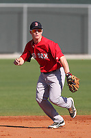 Boston Red Sox Bryan Johns #3 during minor league spring training practice at the Red Sox Minor League Complex at JetBlue Park on March 26, 2012 in Fort Myers, Florida.  (Mike Janes/Four Seam Images)