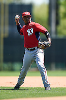 Washington Nationals infielder Khayyan Norfork (15) during practice before a minor league spring training game against the Atlanta Braves on March 26, 2014 at Wide World of Sports in Orlando, Florida.  (Mike Janes/Four Seam Images)