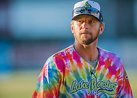 29 July 2016: Vermont Lake Monsters Manager Aaron Nieckula sports a colorful uniform celebrating Ben & Jerry's Summer of Love Day prior to a game against the Brooklyn Cyclones at Centennial Field in Burlington, Vermont. The Lake Monsters fell to the Cyclones 8-5 in NY Penn League action. Mandatory Credit: Ed Wolfstein Photo *** RAW (NEF) Image File Available ***