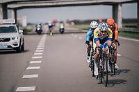 Jonas Rickaert (BEL/Sport Vlaanderen-Baloise) leading teh breakaway<br /> <br /> 106th Scheldeprijs 2018 (1.HC)<br /> 1 Day Race: Terneuzen (NED) - Schoten (BEL)(200km)