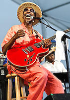 """Walter """"Wolfman"""" Washington playing at Jazz Fest 2011 in New Orleans, LA on day 6."""