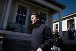 January 30, 2008. New Orleans, LA.. Former US Senator and presidential hopeful John Edwards bowed out of the presidential race today in New Orleans, where he had announced his presidential run in 2007. He spoke at the Musicians Village, a housing community being built in the 9th Ward by Habitat for Humanity.