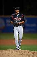 Lake Elsinore Storm relief pitcher Diomar Lopez (34) prepares to deliver a pitch during a California League game against the Rancho Cucamonga Quakes at LoanMart Field on May 19, 2018 in Rancho Cucamonga, California. Lake Elsinore defeated Rancho Cucamonga 10-7. (Zachary Lucy/Four Seam Images)