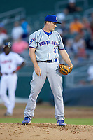 South Bend Cubs relief pitcher Garrett Kelly (37) looks to his catcher for the sign against the Lansing Lugnuts at Cooley Law School Stadium on June 15, 2018 in Lansing, Michigan. The Lugnuts defeated the Cubs 6-4.  (Brian Westerholt/Four Seam Images)