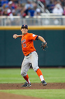 Cal State Fullerton Titans shortstop Timmy Richards (13) makes a throw to first base during the NCAA College baseball World Series against the Vanderbilt Commodores on June 14, 2015 at TD Ameritrade Park in Omaha, Nebraska. The Titans were leading 3-0 in the bottom of the sixth inning when the game was suspended by rain. (Andrew Woolley/Four Seam Images)