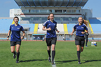20190306 - PARALIMNI , CYPRUS : Irish assistant referee Michelle O'Neill (left) , Welsh referee Cheryl Foster (middle) , Estonian assistant referee Karolin Kaivoja (right) pictured during a women's soccer game between Finland and South Africa , on Wednesday 6 March 2019 at the Tassos Markou Stadium in Paralimni , Cyprus.  This last game for both teams which decides for places 9 and 10 of the Cyprus Womens Cup 2019 , a prestigious women soccer tournament as a preparation on the Uefa Women's Euro 2021 qualification duels.PHOTO SPORTPIX.BE | STIJN AUDOOREN
