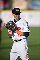 Tri-City ValleyCats Michael Wielansky (17) warms up before a game against the Vermont Lake Monsters on June 16, 2018 at Joseph L. Bruno Stadium in Troy, New York.  Vermont defeated Tri-City 6-2.  (Mike Janes/Four Seam Images)