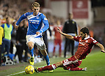 Aberdeen v St Johnstone…22.09.16.. Pittodrie..  Betfred Cup<br />David Wotherspoon is tackled by Anthony O'Connor<br />Picture by Graeme Hart.<br />Copyright Perthshire Picture Agency<br />Tel: 01738 623350  Mobile: 07990 594431