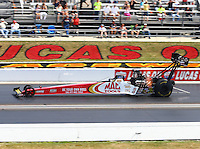 Sept. 2, 2013; Clermont, IN, USA: NHRA top fuel dragster driver Doug Kalitta during the US Nationals at Lucas Oil Raceway. Mandatory Credit: Mark J. Rebilas-