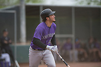 Colorado Rockies third baseman Nolan Arenado (94) starts down the first base line during an Extended Spring Training game against the Arizona Diamondbacks at Salt River Fields at Talking Stick on April 16, 2018 in Scottsdale, Arizona. (Zachary Lucy/Four Seam Images)