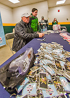 20 February 2016: Hockey Hall of Fame Goaltender Gerry Cheevers signs autographs for fans during an NCAA hockey game between the University of Vermont Catamounts and the Boston College Eagles at Gutterson Fieldhouse in Burlington, Vermont. The visiting Boston College Eagles defeated the Catamounts 4-1 in the second game of their weekend series. Mandatory Credit: Ed Wolfstein Photo *** RAW (NEF) Image File Available ***