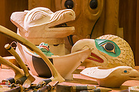 Tlingit Woodcarvings by Tommy Joseph, at the Sitka National Historic Park in the coastal town of Sitka, Alaska