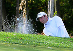 5 October 2008: Eventual winner Dustin Johnson blasts from the greenside bunker at the Par-3 16th hole during the final round at the Turning Stone Golf Championship in Verona, New York. Johnson saved par on the hole.