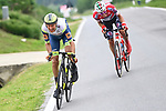 Taco Van Der Hoorn (NED) Intermarche-Wanty-Gobert-Materiaux and Simon Pellaud (SUI) Androni Giocattoli-Sidermac attack from the breakaway during Stage 3 of the 2021 Giro d'Italia, running 190km from Biella to Canale, Italy. 10th May 2021.  <br /> Picture: LaPresse/Fabio Ferrari | Cyclefile<br /> <br /> All photos usage must carry mandatory copyright credit (© Cyclefile | LaPresse/Fabio Ferrari)