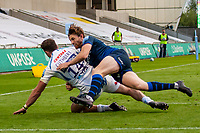 21st August 2020; AJ Bell Stadium, Salford, Lancashire, England; English Premiership Rugby, Sale Sharks versus Exeter Chiefs; Simon Hammersley of Sale Sharks tackles Alex Cuthbert of Exeter Chiefs