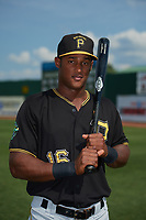 Bristol Pirates Jeremias Portorreal (16) poses for a photo before a game against the Elizabethton Twins on July 29, 2018 at Joe O'Brien Field in Elizabethton, Tennessee.  Bristol defeated Elizabethton 7-4.  (Mike Janes/Four Seam Images)