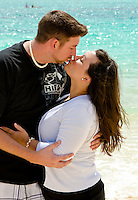 jason and Alyssa on the  beach in Kailua, Oahu